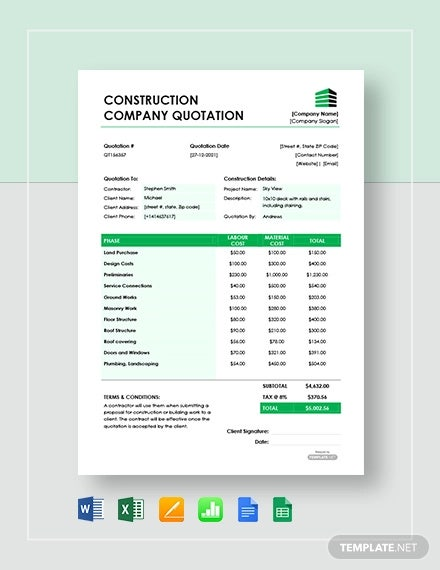 free construction company quotation template