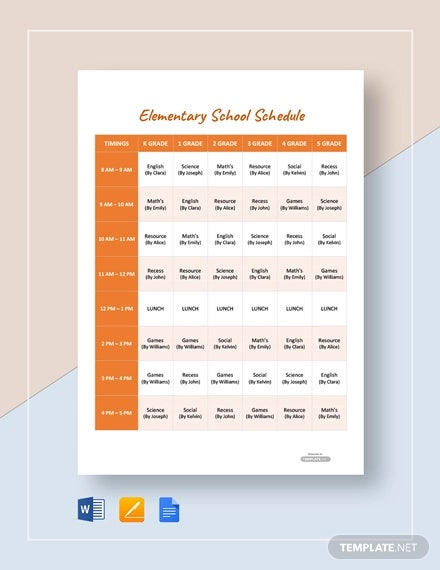 free elementary school schedule template