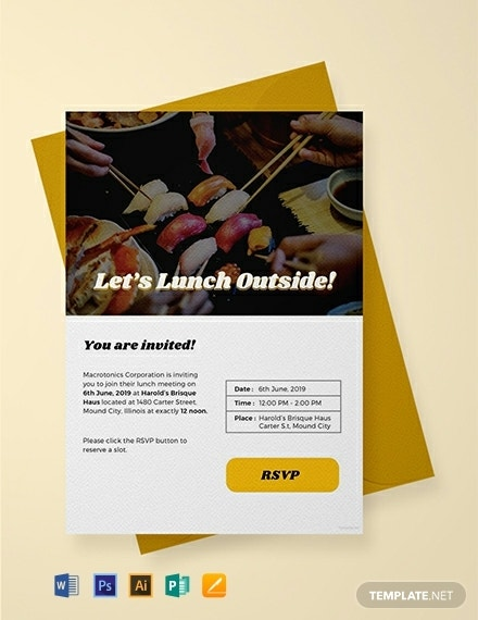 free email lunch invitation template