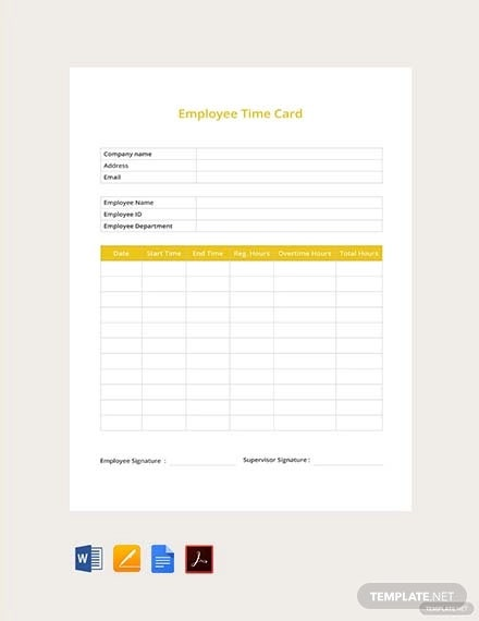 free employee time card template