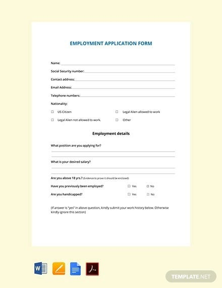 free employment application form