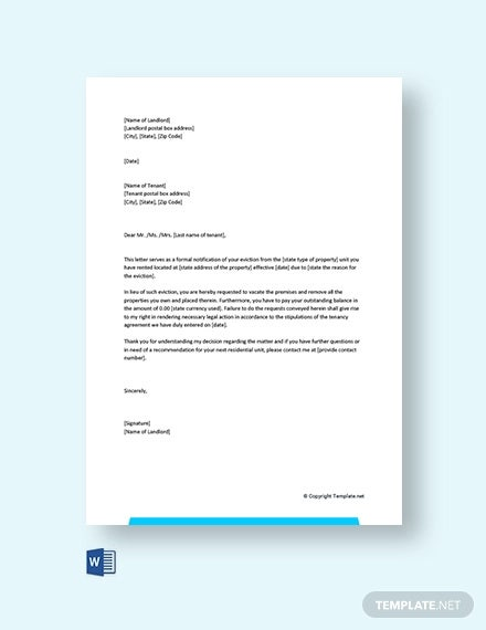 free eviction letter
