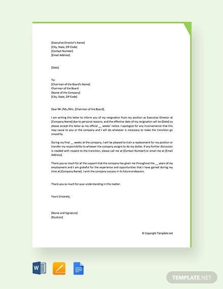 free executive director resignation letter