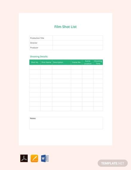 free film shot list template