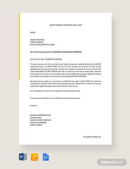 free final warning letter before legal action