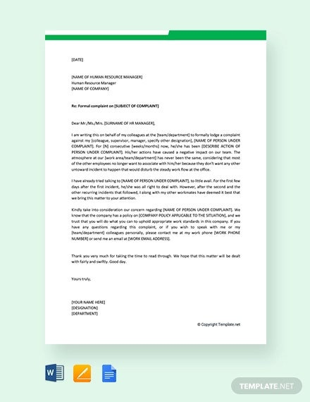 free formal complaint letter to hr