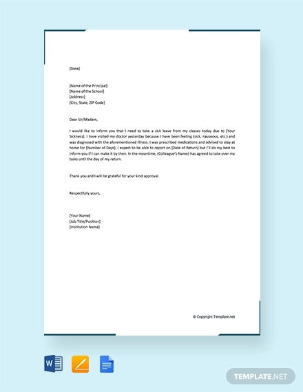 free formal sick leave letter to principal