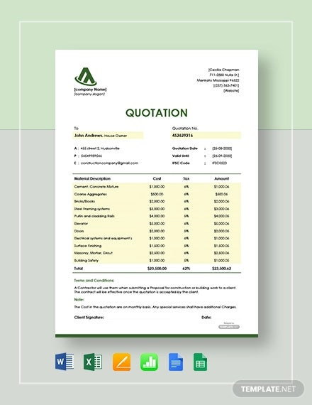 18 Free Construction Quotation Templates Ai Psd Google Docs Free Premium Templates