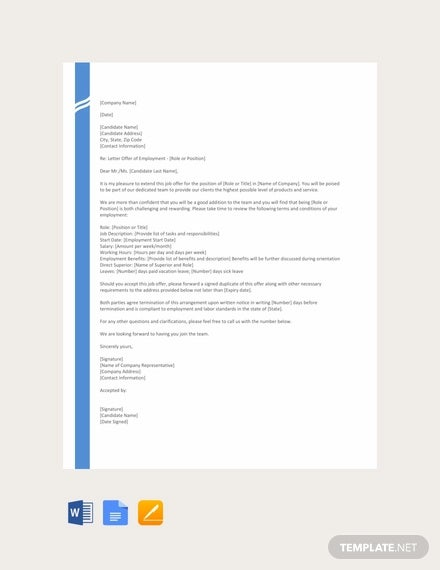 free job offer letter format