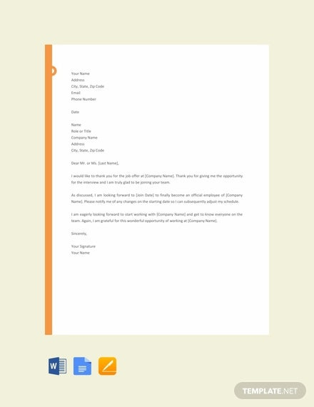 free job offer thank you letter template