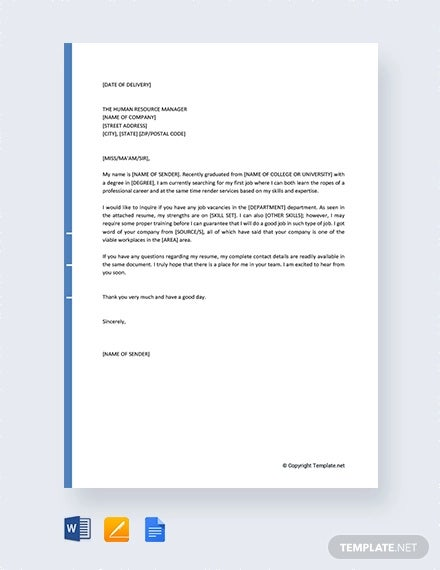 free job query letter sample