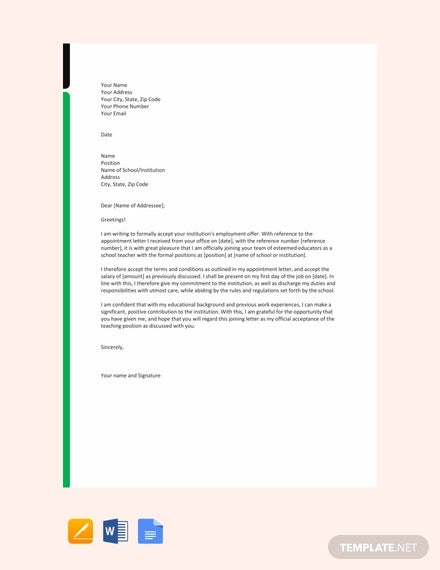 free joining letter for school teacher template
