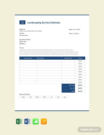 free landscaping services estimate template 440x570 1