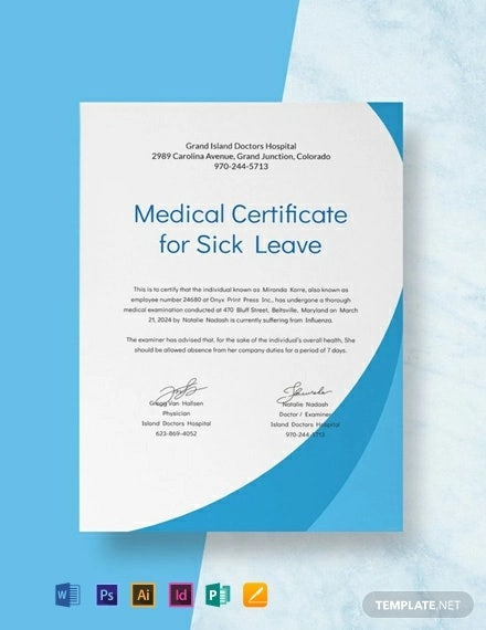 free medical certificate format for sick leave