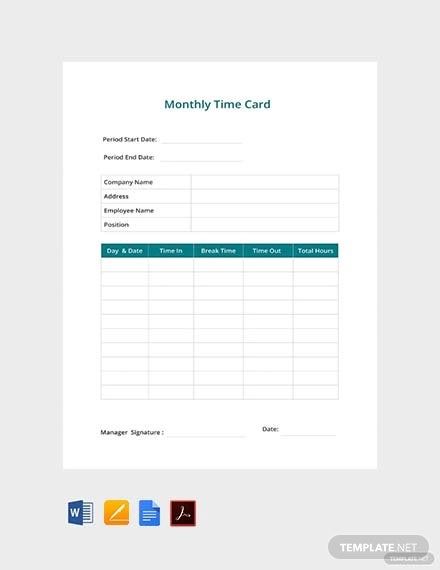 free monthly time card template