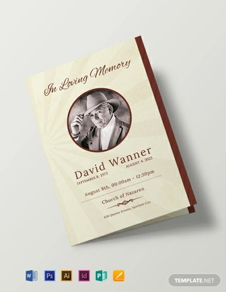 free obituary bi fold brochure design template