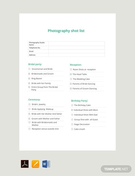 free photography shot list template