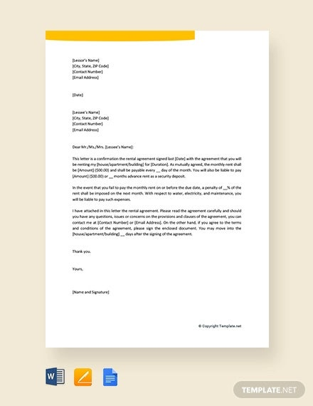 free rental agreement letter