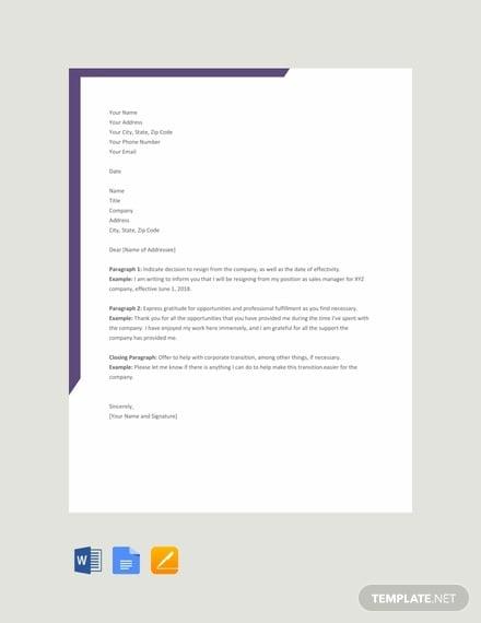 free resignation letter format