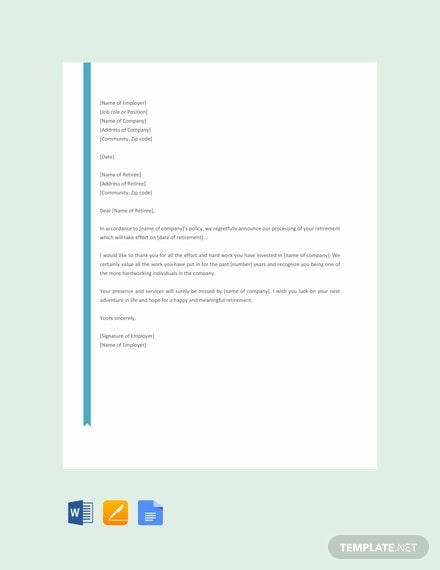 free retirement letter to employee template