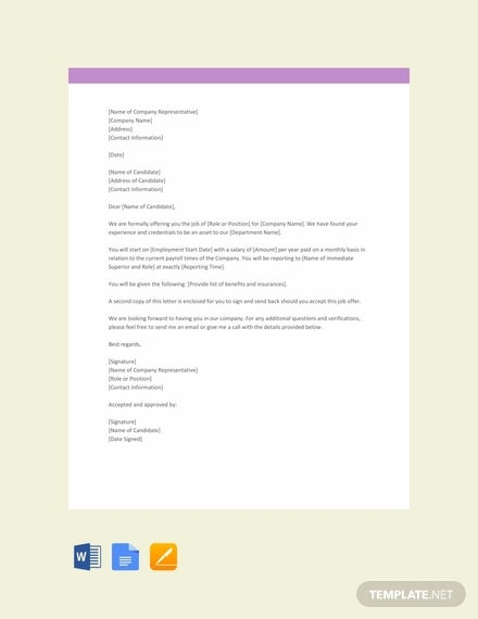 free simple job offer template