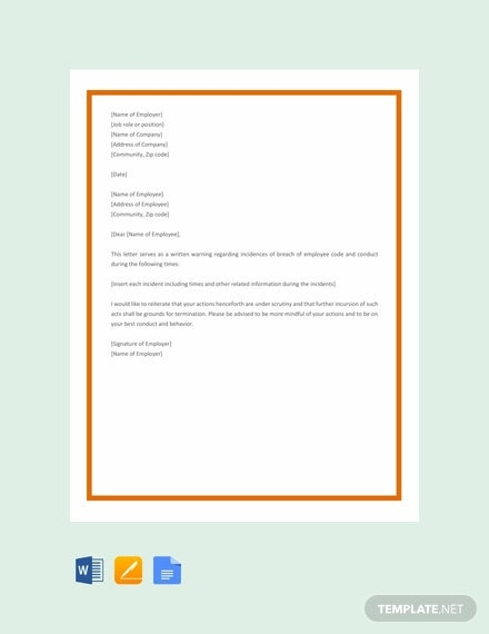free simple warning letter template