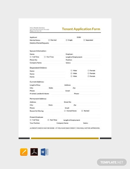 free tenant application form template1