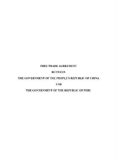 free trade agreement example
