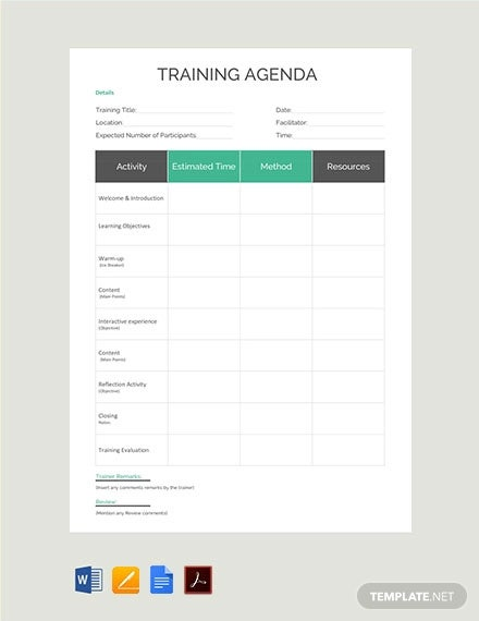10+ Training Agenda Templates - Free Sample, Example ...