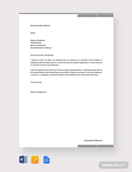 free volunteer nurse resignation letter