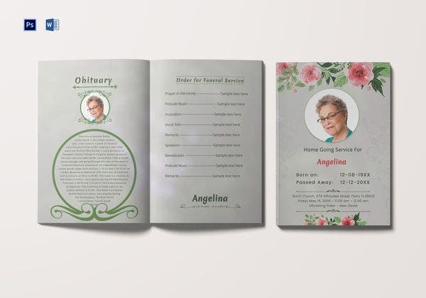 funeral ceremony order of service brochure 600x420