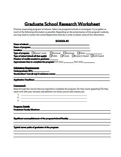 graduate school research worksheet template