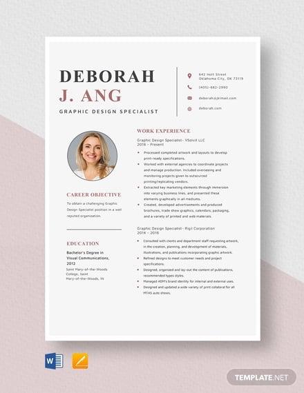graphic design specialist resume template