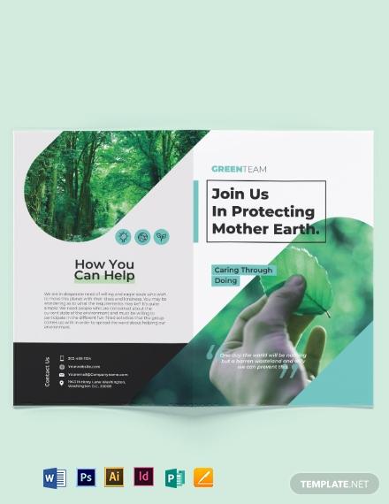 green bi fold brochure