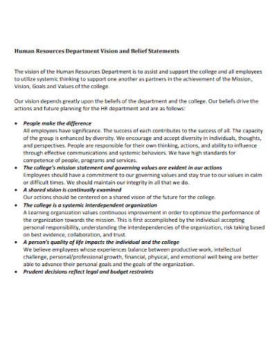 hr department mission statement