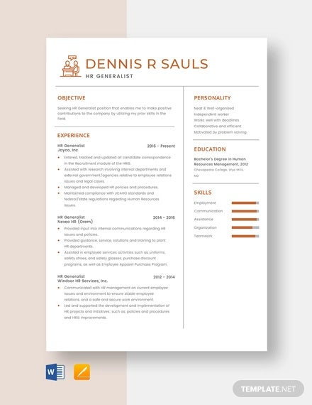 hr generalist resume template