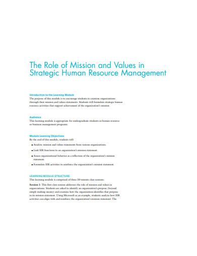 hr mission statement role