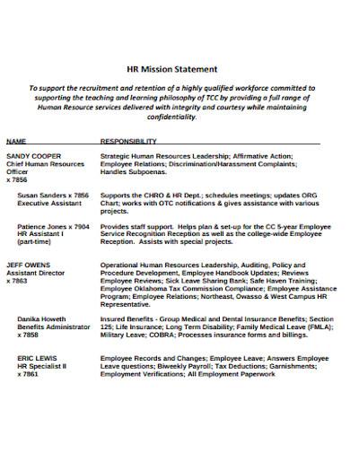 hr mission statement template