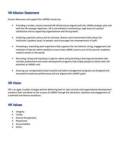 hr mission statement values