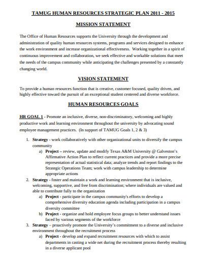 hr mission vision statement