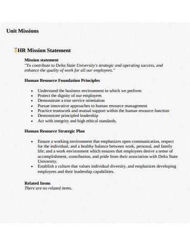 hr unit mission statement