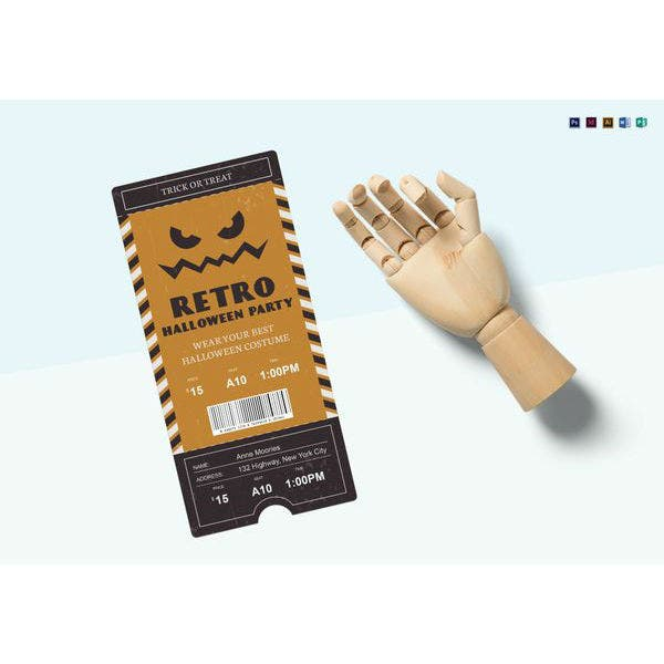 halloween party retro ticket template