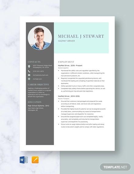 hazmat driver resume template