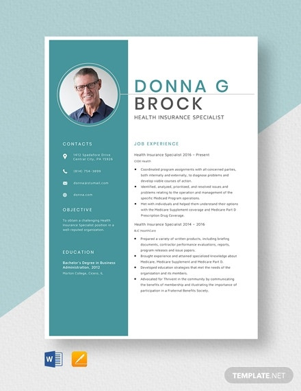 health insurance specialist resume