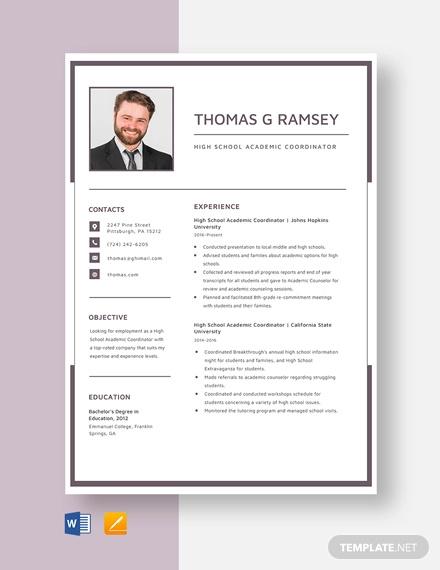 high school academic coordinator resume template