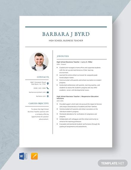 high school business teacher resume template