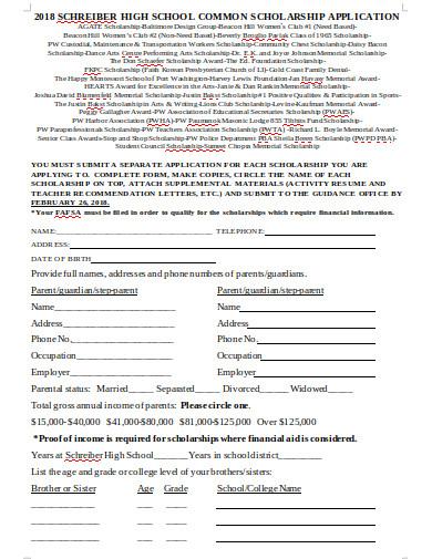 high school common scholarship application