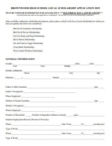 high school local scholarship application