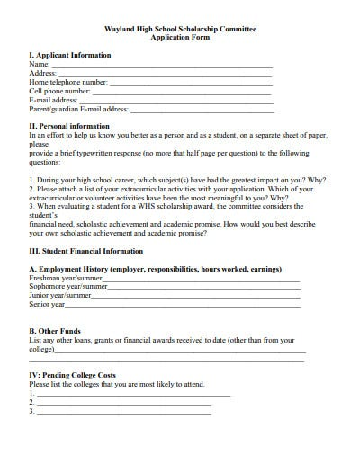 high school scholarship committee application form