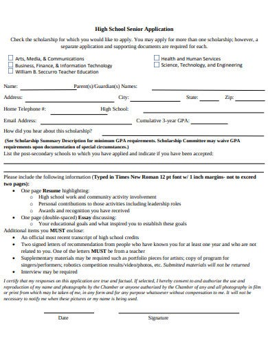 high school senior scholorship application